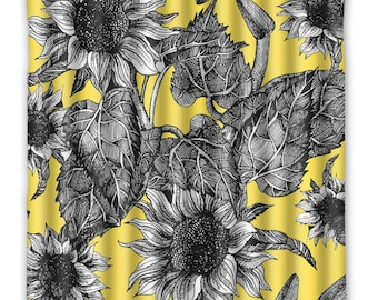 Yellow Sunflower Flower Shower Curtain -  Sunflower - Shower Curtain - Vintage Flower Print - Flower Home Decor - Sunflower bath Home Decor