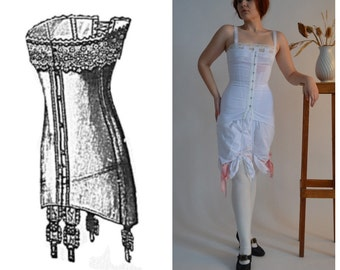 Edwardian corset style; WWI corset; Mid-bust 1910's Corset in white jersey; Edwardian long line corset;