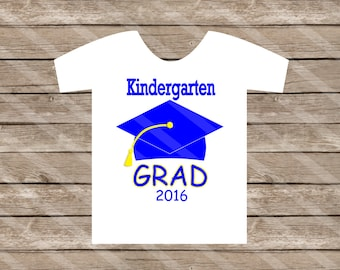 Kindergarten Graduation Blue Digital Download for iron-ons, heat transfer, Scrapbooking, Cards, Tags, DIY, YOU PRINT
