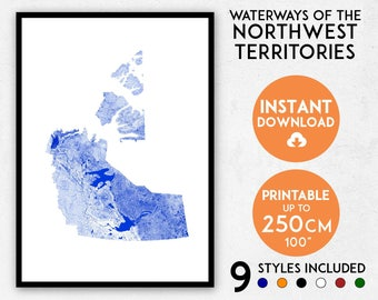 Northwest Territories map print, Printable Canada map art, NWT map, Northwest Territories print, Canada map, Canada poster, Canada wall art