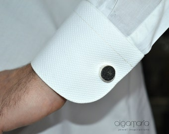 Black Cufflinks Round Cufflinks Silver Cufflinks Wedding Accesories Groom Cufflinks Bijoux Anniversary gift Mens Gift Birthday Gift Personal