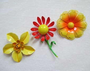Vintage Enamel Flower Pins - Orange Yellow - Retro - Flower Pin Decor - Three in Lot