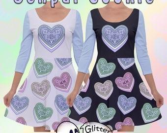 Otaku Cookies -  Quarter Sleeve Skater Dress - Blue  - XS to 5XL - Kawaii - Senpai - Pastel Goth