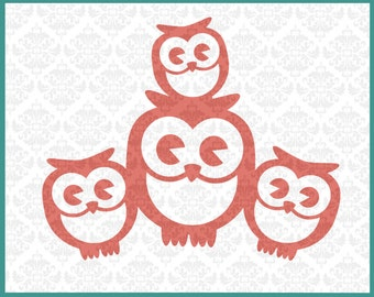 CLN0134 Owl Family 3 Kids Single Mommy Daddy Baby Mother Father SVG DXF Ai Eps PNG Vector Instant Download Commercial Use Cricut Silhouette