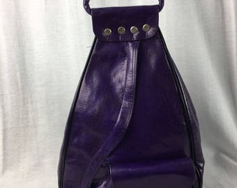 Handcrafted Leather Large  Backpack Purse Purple