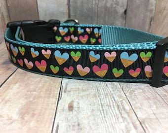 "Birthday Sale | Gold Foil Hearts | 1"" Valentine's Dog Collar | Medium/Large Dog | CupcakePups | Handmade"