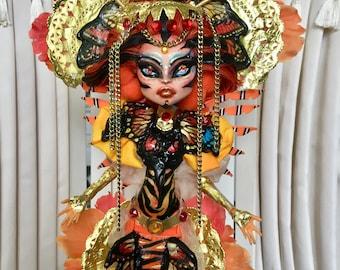 Ooak monster high custom repaint toralei mermaid scarrier reef geisha