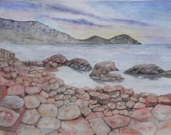 The Giant's Causeway, Co Antrim. Northern Ireland. Irish Art, Irish Watercolor, Limited Edition Print.