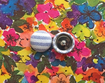 Fabric Button Earrings / Blue Striped / Wholesale Jewelry / Stud Earrings / Made in NYC / Small Gifts / Party Favors / Bulk Order