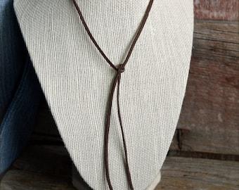 Leather Wrap Choker, Boho Wrap Choker, Wrap Around Choker, Leather Lariat Necklace,  Leather Y Necklace, Boho Leather Choker Lariat