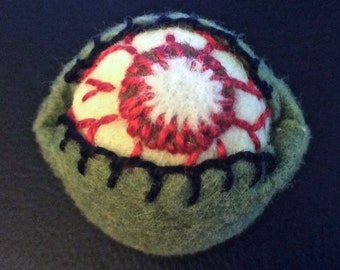 Made to order - ZOMBIE Eyeball small Bottlecap Pincushion  free usa ship