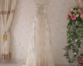 Vintage Inspired Wedding Dress with Light Gold Lace and Charmeuse Empire Waist Style