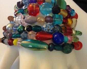 Wacky Colorful Beaded Stretch Bracelet - Random Beads Make up a Beautiful Wacky Original Bracelet