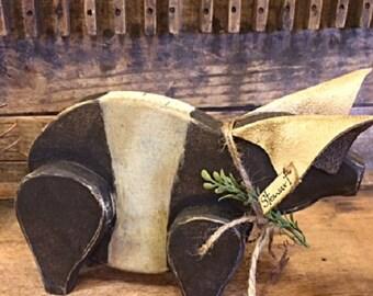"Primitive Pig Folk Art Wooden Handmade ""Stewart"" Gatherings Brown/Cream Piglet Collectible Home Decor Design"