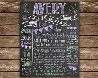 1st Birthday Chalkboard, 1st Birthday Girl, First Birthday, Chalkboard printable, Baby Girl Birthday, Purple, Mint, Silver