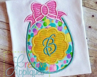 Personalized Easter Egg with Bow Applique Shirt or Bodysuit Girl or Boy