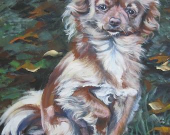 Chihuahua art print CANVAS print of LA Shepard painting 12x16 dog art