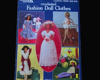 Crochet, Crochet Patterns, How to crochet, Leisure Arts Fashion Doll Clothes Leaflet 268  1983