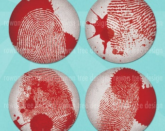 BLOODY FINGERPRINTS Digital Collage Sheet 1.5in or 1in Circles Detective Mystery - no. 0089