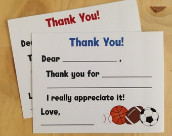 Sports Fill in the Blank Thank You Cards | Sports Thank You Cards | Kids Thank You Cards | Boy Thank You Cards