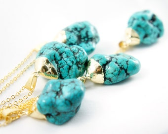 Turquoise Nugget Necklace - Natural Turquoise Necklace - Blue Turquoise Necklace - Bohemian Gypsy Style