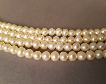 "50"" Vintage Freshwater Pearl Rope Strand, Real Pearl Strand, Long Pearl Necklace, Flapper Pearls, 1920s Glam Jewelry"