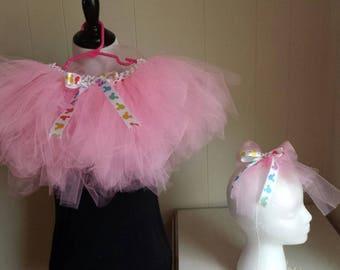 Pink Tutu with Rainbow Mickey Ribbon