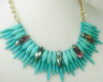 Turquoise Tribal Necklace - Spike Collar Necklace - Statement Jewelry - Rocker - Hippie - Ethnic - Bib - Layered