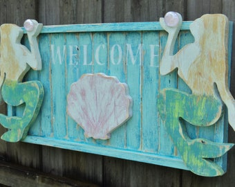 Mermaids, Mermaid Sign, Mermaid Decor, Mermaid Headboard, Mermaid Bedroom, Mermaid Sign, Mermaid Welcome, Handmade Headboard, Coastal