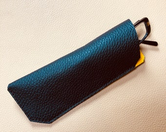 Leather Glasses Case, Spectacle Case, Sunglasses case, Eyeglass case, Sunglass Case, BLACK -YELLOW