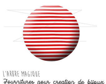 Cabochon 25 mm striped red and white ref 1456 fancy
