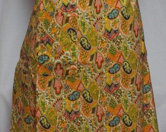Vintage Handmade Apron, Half Apron, Yellow Apron, Retro Half Apron, Retro Apron, Kitchen Apron, Hostess Apron, 1970s Apron, Vintage Fabric