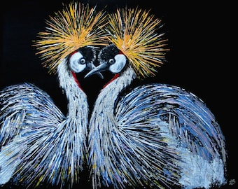 Crowned Cranes Painting, Bird Painting