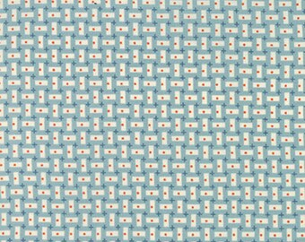 By the HALF YARD - Bread n' Butter by Sandy Klop of American Jane for Moda, #21698-15, Vertical & Horizontal Ivory Rectangles on Light Blue