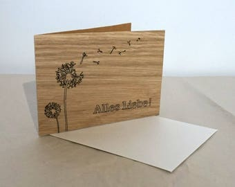 Wooden Greeting card/All love/Congratulations