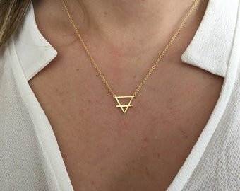 Triangle Alchemy Necklace, Earth  Element Necklace- Silver Triangle Necklace, Triangle Alchemy symbol earth necklace