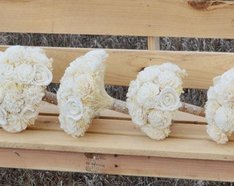 Ivory Sola Wood FLower Bouquet Bridal, Bridesmaids, Toss, Flower Girl Dried Flowers Keepsake Balsa wood Wedding Flowers