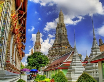 Laminated placemat Temple in Bangkok Thailand