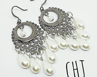 Gunmetal earrings, white pearl earrings, faux pearl earrings, chandelier earrings pearl, handmade, ready to ship jewelry, free shipping