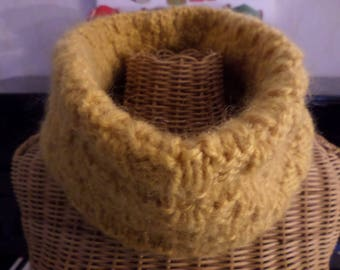 snood knitted with a mustard colored wool