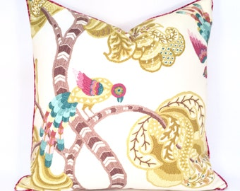 Crewel-Style Bird and Leaf Botanical Pillow Cover in Citron, Pink, Turquoise, Taupe and Ivory.
