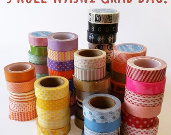 Washi Tape Grab Bag, 5 Rolls, Discouted, 15mm x 10m