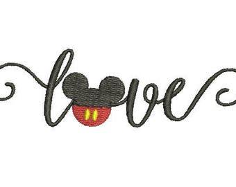 Disney Swirl Swirly Scroll Mickey Mouse Head Ears Love Heart Design Embroidery Set Fill Machine Instant Download Digital File EN2169F2
