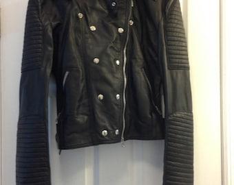 SALE: Black leather jacket, women's small