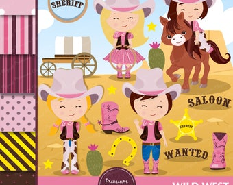 Wild West Clipart, Wild West Party, Western Clipart,  Cowgirl clipart, Girl Clipart, Western Graphics, Scrapbook paper - CL141