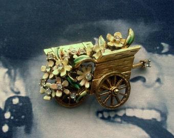 BSK Signed My Fair Lady Eliza Doolittle Flower Cart Brooch