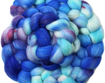 Backfloat - hand-dyed Polwarth wool and silk (4 oz.) combed top roving