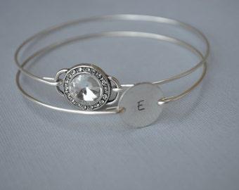 Bridesmaids Gifts, Initial Bangle Set- Crystal BangleSet-  Bracelet-Bridesmaids Gifts-Silver Jewelry- Handmade-# 609 -