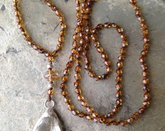 Knotted Brown Czech beads with Crystal Pendant Long Necklace