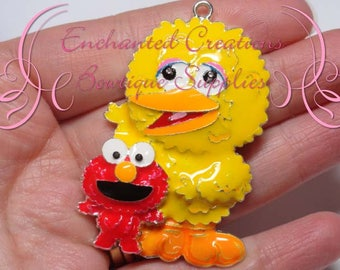 "2"" Big Bird With Elmo Inspired Charm, Sesame Street Inspired, Chunky Pendant, Keychain, Bookmark, Zipper Pull, Chunky Jewelry, Purse Charm"